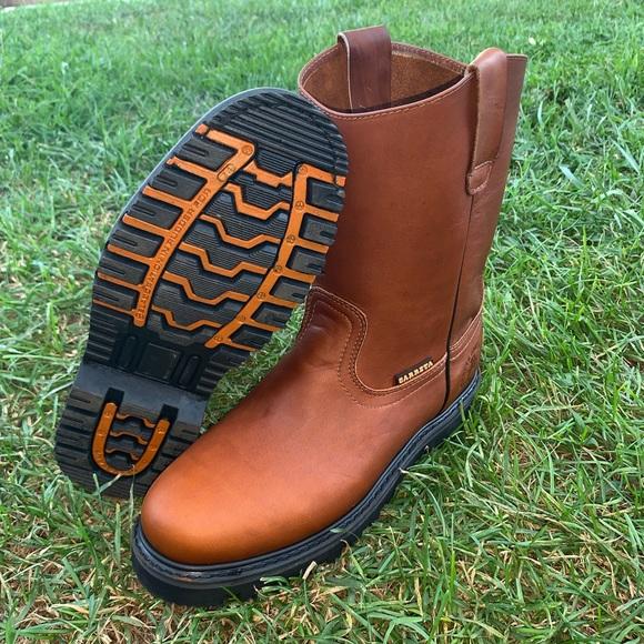 Mens Work Steel Toe Boots Pull On